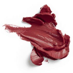 Swatch du rouge à lèvres Marsala de Baims