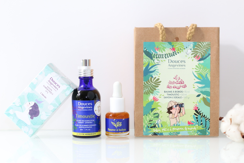 Kit Les Essentiels des vacances de Douces Angevines, cosmétiques naturels, vegan, bio et cruelty-free