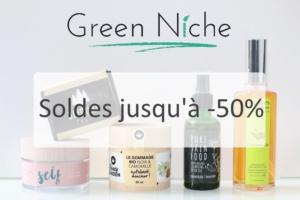 Soldes sur l'eshop belge Green Niche de cosmétiques vegan, cruelty-free et naturels