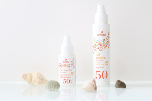 Spray solaire SPF 50 bio, vegan, naturel et cruelty-free UVBIO