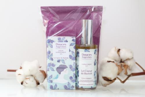 Duo huile pour le corps et savon vegan, bio, naturel et cruelty-free Le Cœur du Baobab de Douces Angevines